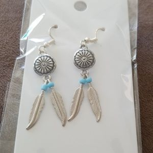 Feathered shield earrings